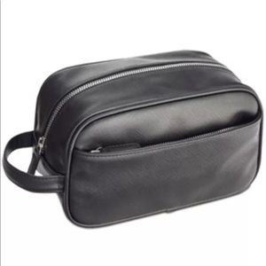 Perry Ellis Black Leather Toiletry Bag Pocket NEW